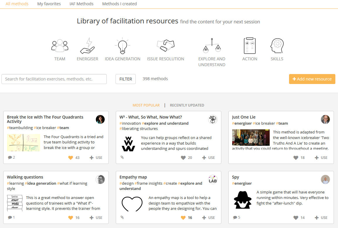 SessionLab library of facilitation resources