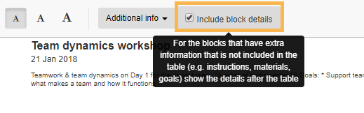 Include block details on your printout