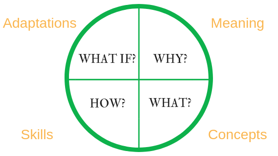 The 4MAT cycle with its key questions and focus areas