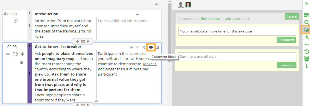Create a comment in SessionLab