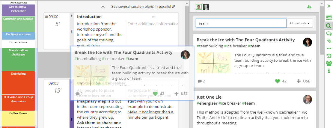 Moving a block from search results to your agenda