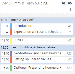 Agenda for the Intro Day: Kick-off and Optional Team Building and Assessment Activities