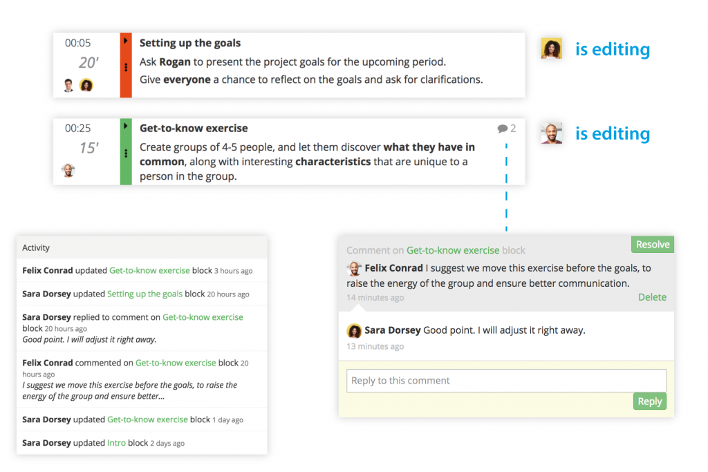 Collaborate on your plan with comments and real-time editing